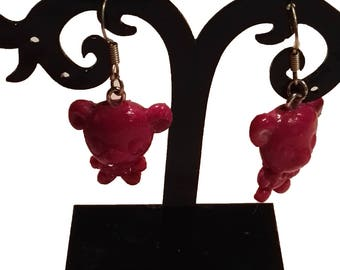 Pink fuhia bear earrings