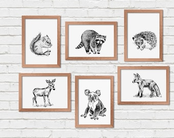 Wild Animals Printables, Set of 6, Woodland Animals, Printable Wall Art, Transfer Images, Coloring Pages, Craft Supplies, Nature Prints