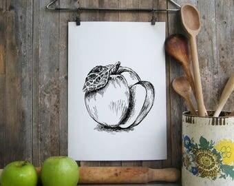 Apple print, Black and white printable, Fruit poster, Botanical art print, Kitchen decor, Rosh hashana