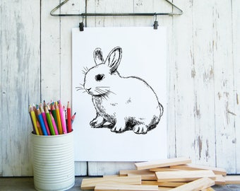 Kids Room Decor, Bunny Printable, Cute Rabbit Poster, Kids Wall Art, Nursery Decor, Cute Animals, Pet Gift, Coloring Pages, Gift For Kids