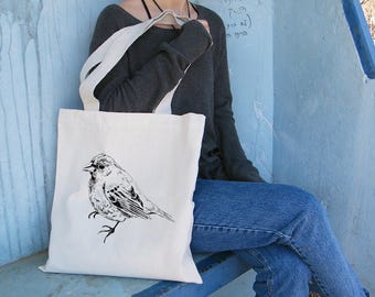 Shoulder Tote Bag, Bird Tote Bag, Cotton Tote Bag, Library Bag, Beach Bag, Tote Bag For Woman, Bags And Purses, Bag For Woman, Gift Under 30