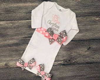 Personalize Little Sister Layette Gown, Monogram Newborn Girl Hospital Gown, New Baby Gift, Coming Home Outfit, Baby Sister Take Home Gown