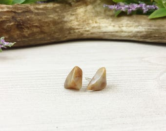 Agate Stud Earrings >> Natural Stones on Sterling Silver Posts >> Nature Geology Stone Boho Gift For Her >> Unique Nevada Gemstone Jewelry
