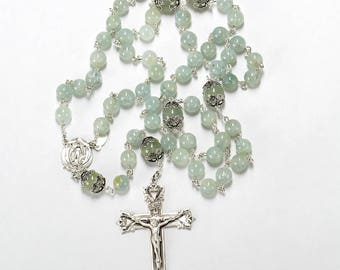 Green Aquamarine Rosary, Handmade, Heirloom Catholic Women's Rosaries, Ornate Sterling Silver Beads Caps, Miraculous Medal Center - Unique