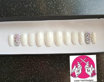 Hand Painted Bridal Wedding Full Swarovski and Glitter Crystal False Nails | Little Nail Designs