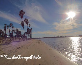 Printable Download, Photography, Sunny Sandy Beach, Digital Image, Mission Bay, San Diego, West Coast, Gift