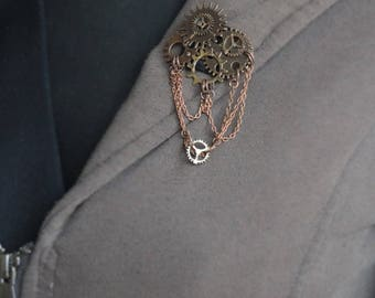 Copper hand sewn steampunk inspired brooch