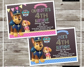 PRINTED & DELIVERED | 12x Paw Patrol Birthday Invitations | For Boy or Girl | Any Age | Any Message | Blue | Pink