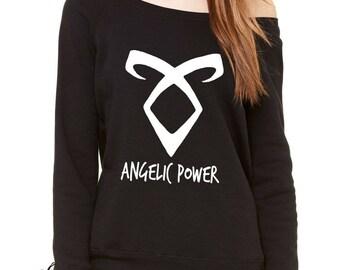 Angelic Power Rune Enkeli Slouchy Off Shoulder Oversized Sweatshirt