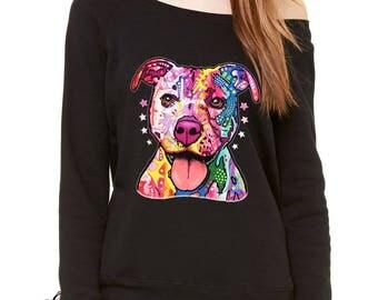 American Pitbull Graffiti Slouchy Off Shoulder Oversized Sweatshirt