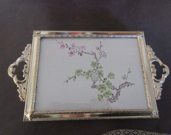 VANITY TRAY LINED with Silk Fabric