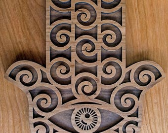 Hamsa Spiral Wall Art - Sacred Geometry Laser Cut Art - LaserTrees Item Number LT40148