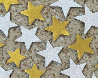Leather Stars, 50 pcs., White Pearl,Metallic Yellow,3 Sizes 15mm. 20mm. & 25mm.Wide, Leather Stars Die Cut, Stars Decoration,DIY Projects.