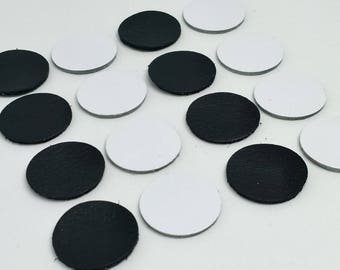 Leather Circles, Black & White, Leather Circles Die Cut, Leather Decoration, Circles Decoration, for DIY Projects.