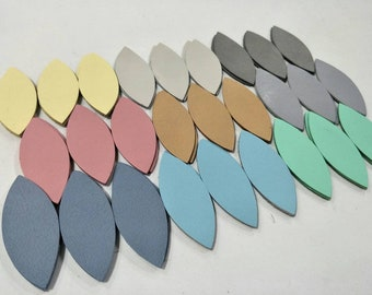 "Leather Leaves, 50 Pcs. (25 Pairs), 50mm. (2"") 64mm. (2.5"") 78mm. (3"") Long, Mixed Colors, Leaves Die Cut, Leaves Shape, Earing Accessories."