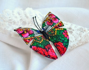 Textile brooch butterfly Folk art brooch Textile art pin Embroidered butterfly brooch Summer party outdoors Fiber art brooch Gift for her
