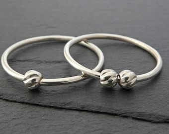 Twisted Bead Sterling Silver Fidget Ring - Thin Sterling Silver Spinning Bead Ring, Spinner Ring, Worry Ring - Petite Silver Bead Ring