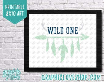 Printable 8x10 Wild ONE Art | Feathers, Arrow, Mint, Navy, Gray, Party Decoration | Digital High Resolution JPG File, Instant Download