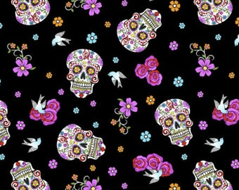 Folkloric Skulls Fabric Collection - Black Day of the Dead w/Glitter Fabric from David Textiles - Listed by Half Yard Increments