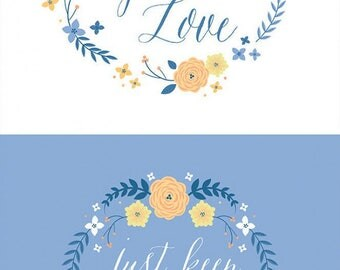 """Do What You Love Fabric Collection - Multi Floral Quotes 18"""" Fabric Panel by Alisse Courter for Camelot Fabrics"""