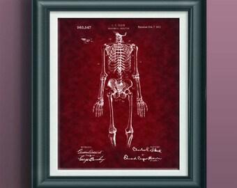 Anatomy Patent Anatomical Art Medical Orthopedic Office Decoration Skeleton Wall Art Skeleton Artwork Skeleton Decor Skeleton Poster PP 9065