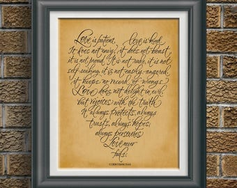 Corinthians 13:4-8 Love is Patient Love is Kind Bible Quote Artwork Scripture Wall Art Gift for Christian Newly Wed Gift for Wedding PP 900