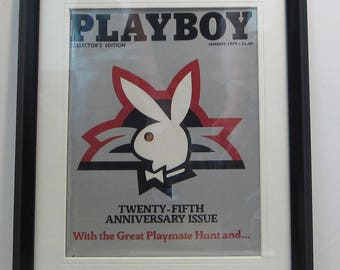 Vintage Playboy Magazine Cover Matted Framed : January 1979 - Rabbit Head, Arthur Paul {Artist}, Sylvie Garant