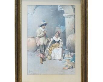 Francesco Ballesio Italian Watercolor Painting 19th Century