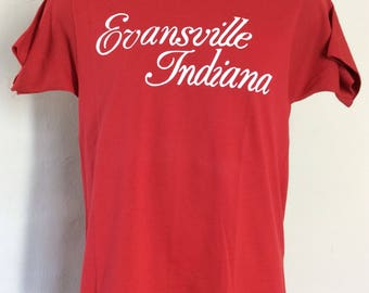 Vtg 80s Screen Stars Evansville Indiana T-Shirt Red S/M 50/50 Vacation Souvenir