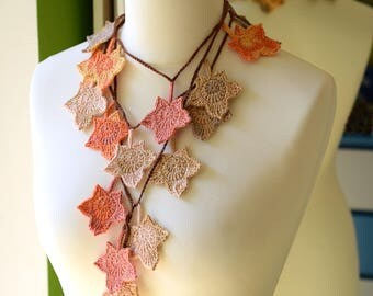 Autumn shades crochet necklace scarf, cotton maple leaves scarf, skinny scarf, crochet leaves garland, Halloween costume, Ready to ship