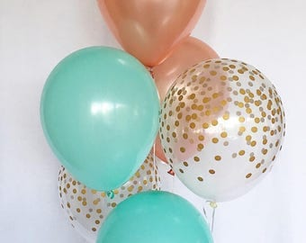Rose Gold Mint and Clear Gold Confetti Latex Balloons~ Birthday~Wedding~Bridal Shower~Birthday~Rose Gold Balloon~Gold Confetti Look Balloon