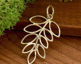 Sterling Silver, Leaf Pendant, Openwork Fern, Leaf Charm, Openwork Leaf, Fern Pendant, Fern Charm, Silver Leaf Charm, Silver Fern Charm