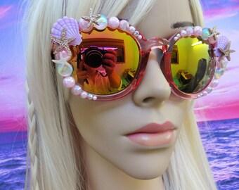 MIRRORED I'm Really A MERMAID Sunglasses Sun Glasses Shades Sunnies with little pearls Wayfarers Aviators Im Beach Sea Ocean Nautical A019