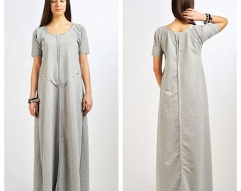 SALE Grey Asymmetrical Dress/ Maxi Extravagant Dress / Loose Kaftan/ Twisted Dress by Fraktura D0024