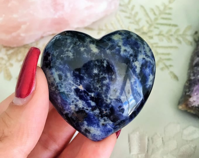 Heart Crystal Blue Sodalite Stone infused w/ Reiki / Large Crystal Hearts / Healing Crystals and Stones