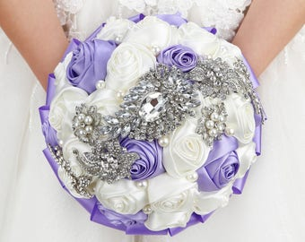 Lavender & White Wedding Bouquet Brooch Bouquet Crystal Bridesmaids Bouquet Bridal Bouquet Keepsake Bouquet Jewelry Bouquet