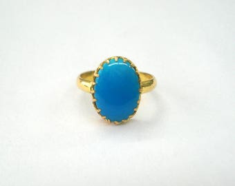 vintage 20kt gold ring turquoise gemstone ring handmade gold jewelry