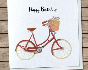Classic Vintage Bicycle Greetings Card - Personalised/Custom Option Avaliable - Retro, Cycling, Pashley - Happy Birthday, Thank You