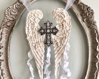 "Angel Wings with Vintage Style Rhinestone Cross ""Blessings"" Hand Sculpted Precious Wings by Pam"