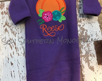 Purle gown, floral pumpkin with name