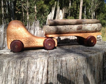 Hand made timber log truck