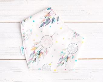 Baby Bib - Dreamcatchers - Pastels - Organic Bamboo & Cotton - Baby Girl Bib - Dribble Bib - Eco Friendly Gift - Baby Girl Fashion