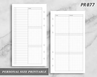 Personal Size Printable Vertical Wo4P Grid Weekly Week on Four 4 Page Wo4 Graph Digital Download PR077