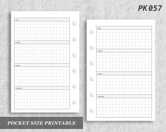 Pocket Size Printable Horizontal Wo2P Grid Weekly Week on Two 2 Page Wo2 Graph Digital Download PK057