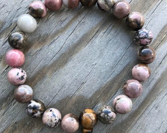 10mm Rhodonite wrist Mala Bracelet