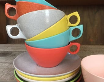 Vintage Set of 5 mix and match melamine melmac cups and saucers in bright colors retro mid century modern picnic ware kitsch
