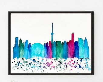 Toronto Skyline, Original Watercolor painting Travel Illustration, Illustrator Canada Print, Wall art Home Decor, Handmade Holiday gift