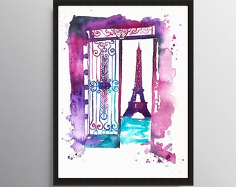 Eiffel Tower, Paris Painting, City art, Cityscape art, Watercolor Painting, Illustration art, Travel art, Architecture art, Home decor