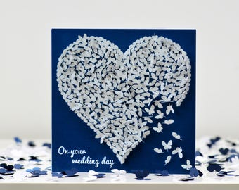 Wedding Day Card White Butterfly Heart