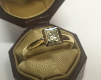 Princess Cut Diamond Ring in 18K Yellow Gold